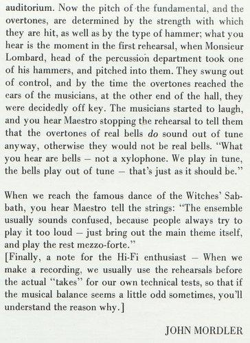 Hector Berlioz, Ernest Ansermet, Ouv. Corsaire, Symphonie Fantastique, partie 3 rabat intérieur pochette album Decca LONDON CSA 2101