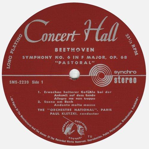 L.van BEETHOVEN, Symphonie No 6, ONRDF, Paul KLETZKI, SMS 2239, STÉRÉO, étiquette recto