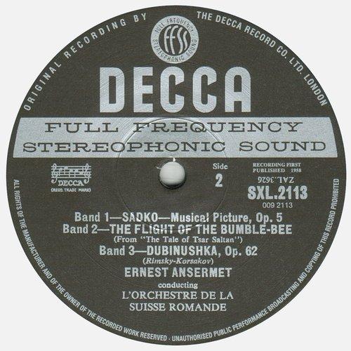 N.RIMSKI-KORSAKOW, OSR, Ernest ANSERMET, SXL 2113, étiquette verso du disque