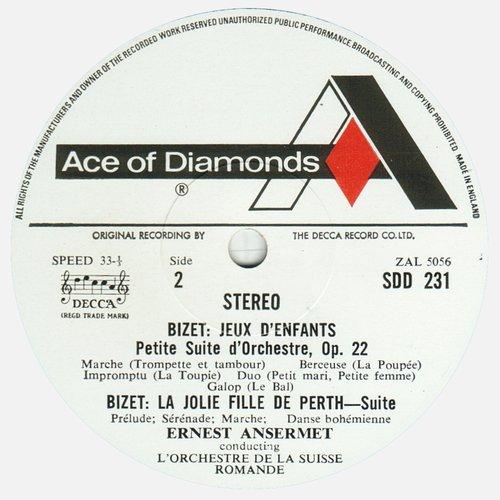 Georges BIZET, Symphonie en ut, OSR, Ernest ANSERMET, 1960, STÉRÉO, étiquette verso du disque SDD 231