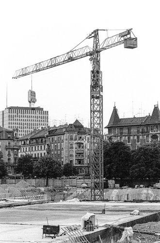 Genève, Plaine de Plainpalais, construction du parking.