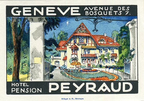 Étiquette de bagage de l'Hôtel Pension Peyraud (GE)