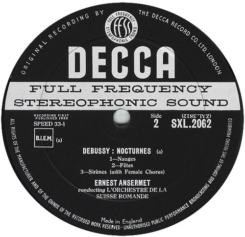 M. Ravel, Ma Mère l'Oye, Cl. Debussy, Nocturnes, OSR, E. Ansermet, 1957, SXL 2062, étiquette verso du disque