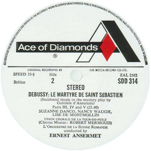 Claude DEBUSSY, Le Martyre de saint Sébastien, OSR, Ernest ANSERMET, 1954, étiquette verso du disque Decca SDD 314