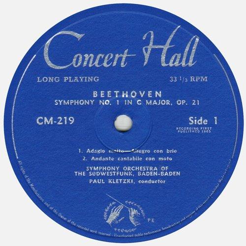 L. van BEETHOVEN, Symphonie No 1, GOSWF, Paul KLETZKI, étiquette recto du disque