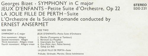 Georges BIZET, Symphonie en ut, OSR, Ernest ANSERMET, 1960, STÉRÉO, extrait du verso de la pochette du disque SDD 231
