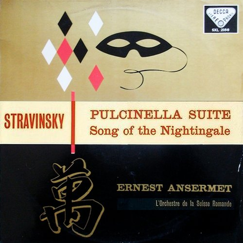 Igor STRAWINSKI, Le Chant du Rossignol, Pulcinella, OSR, Ernest ANSERMET, 1956, recto pochette SXL 2188, 1ère edition