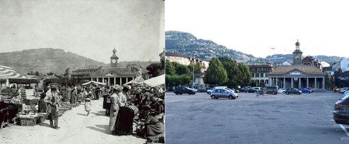 La place du Marché à Vevey en 1904 et en 2018