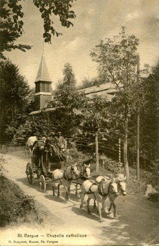 St-Cergue, la diligence et l'église