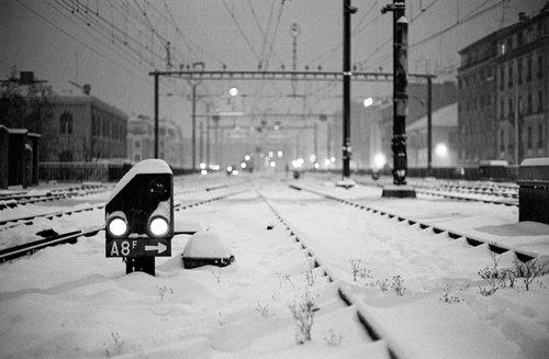 Genève, les voies de triage sous la neige