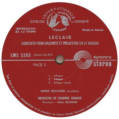 J.-M.LECLAIR, Concerto pour hautbois, Heinz HOLLIGER, OCR (EIR), Alain MILHAUD, 1960, étiquette verso disque SMS 2305