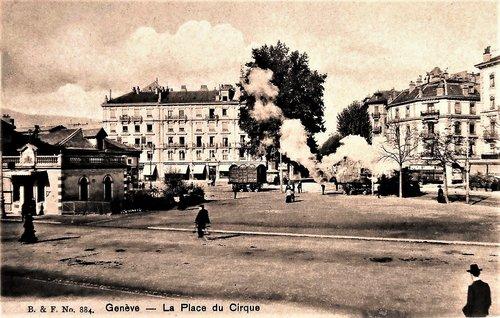 Genève place du Cirque et tramway à vapeur