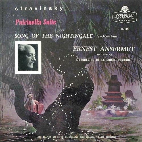 Igor STRAWINSKI, Le Chant du Rossignol, Pulcinella, OSR, Ernest ANSERMET, 1956, recto pochette LL 1494