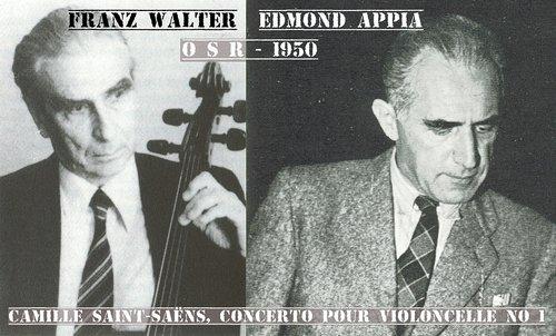 Camille SAINT-SAËNS, Concerto pour violoncelle no 1, Franz WALTER, OSR, Edmond APPIA, 1950