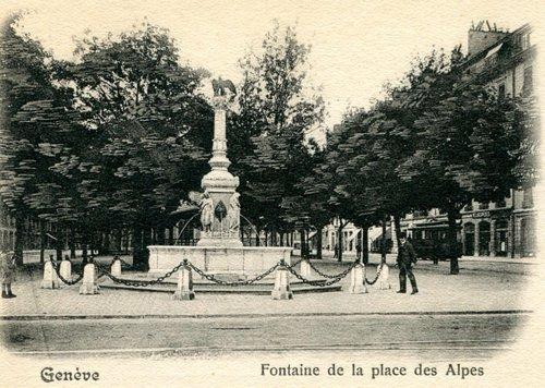 Genève, la fontaine de la place des Alpes
