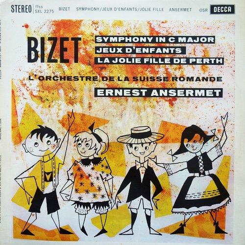Georges BIZET, Symphonie en ut, OSR, Ernest ANSERMET, 1960, STÉRÉO, recto de la pochette du disque SXL 2275
