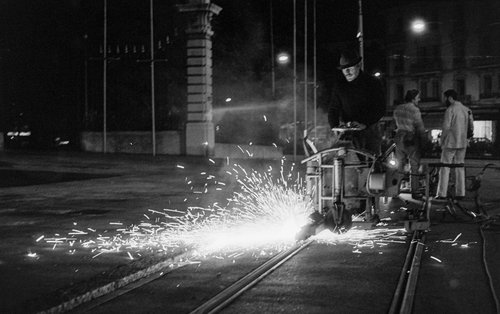 Genève, travaux nocturnes sur la Place de Neuve II