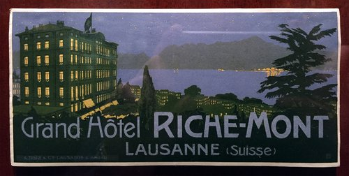 Étiquette de bagage du Grand Hôtel Riche-Mont, Lausanne