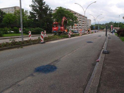 Meyrin  travaux tram 14. Rue de Livron .