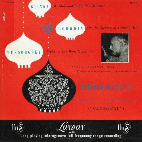 Ernest ANSERMET, Glinka, Borodin, Mussorgski, Prokofjew, OSCCP, 1953, Recto de la pochette du disque Decca London LL 864