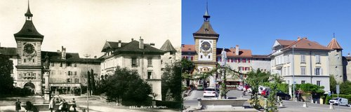 La porte de Berne à Morat: hier/aujourd'hui