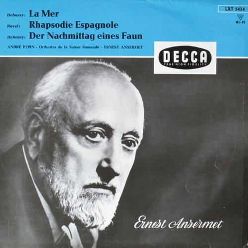 Recto de la pochette du disque LXT 5424, C. Debussy, Prélude à l'Après-Midi d'un Faune, A. Pépin, OSR, E. Ansermet, 28.10.1957