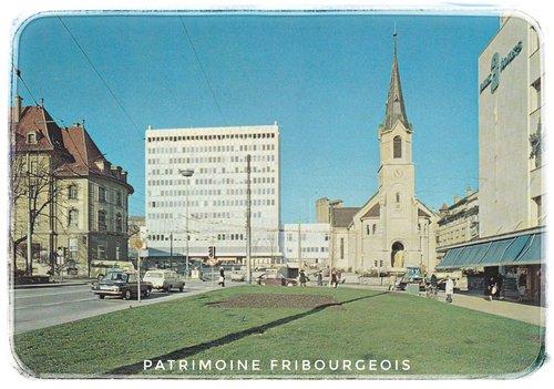 Fribourg, le temple et la nouvelle poste