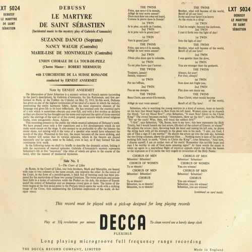 Claude DEBUSSY, Le Martyre de saint Sébastien, OSR, Ernest ANSERMET, 1954, verso de la pochette du disque LXT 5024