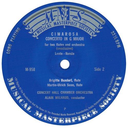 D.CIMAROSA, Concerto pour 2 flûtes, B.BUXTORF et M.U.SENN, Orchestre de chambre Concert Hall, A.MILHAUD, étiquette verso du disque MMS-958