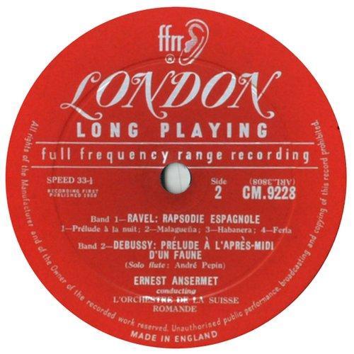 Étiquette verso du disque London CM 9228, C. Debussy, Maurice Ravel, OSR, E. Ansermet, 28.10.1957