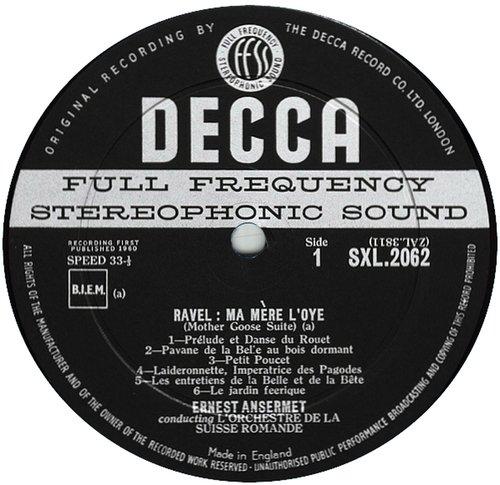 M. Ravel, Ma Mère l'Oye, Cl. Debussy, Nocturnes, OSR, E. Ansermet, 1957, SXL 2062, étiquette recto du disque