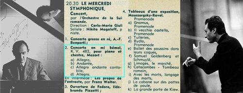 Wolfgang Amadeus MOZART, Concerto no 22, Nikita MAGALOFF, OSR, Carlo Maria GIULINI, 1955