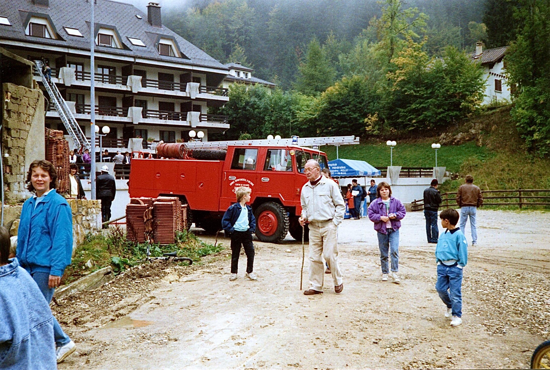 Famille André, une démonstration des pompiers
