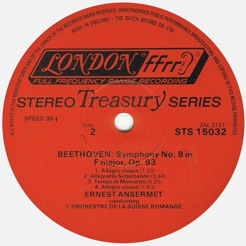 L. van BEETHOVEN, Symphonie No 8, OSR, Ernest ANSERMET, mai 1956, STÉRÉO, étiquette verso du disque DECCA LONDON STS 15032