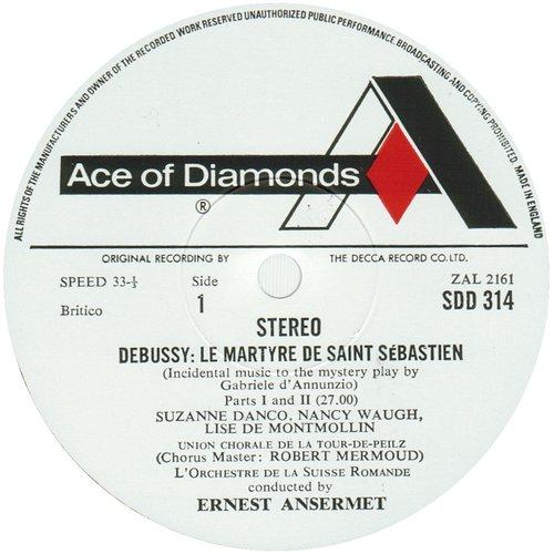 Claude DEBUSSY, Le Martyre de saint Sébastien, OSR, Ernest ANSERMET, 1954, étiquette recto du disque Decca SDD 314