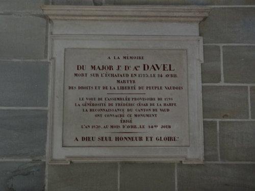 Plaque commémorative à la mémoire du Major Davel