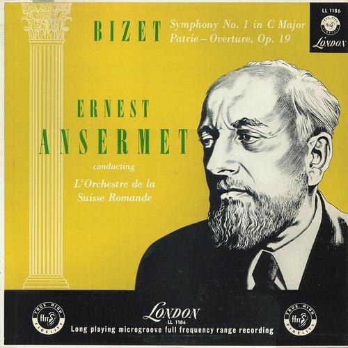 Georges BIZET, Symphonie en ut et Patrie, OSR, Ernest ANSERMET, Recto de la pochette du disque Decca LONDON LL 1186