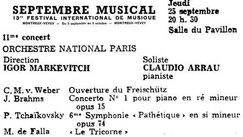 Peter Tschaikowski, Symphonie No 6, ONRDF, Igor Markevitch, 25 septembre 1958, Montreux