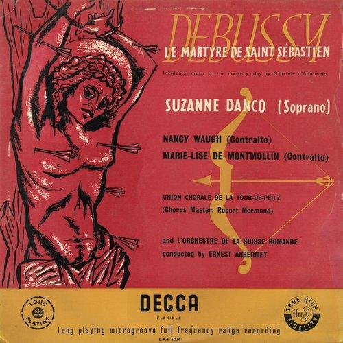Claude DEBUSSY, Le Martyre de saint Sébastien, OSR, Ernest ANSERMET, 1954, recto de la pochette du disque LXT 5024