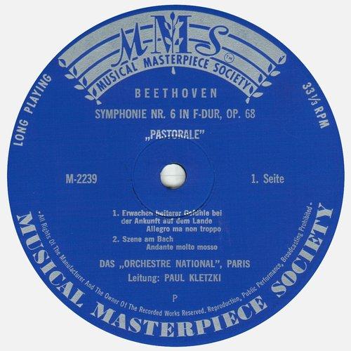 L.van BEETHOVEN, Symphonie No 6, ONRDF, Paul KLETZKI, MMS 2239, MONO, Étiquette recto du disque