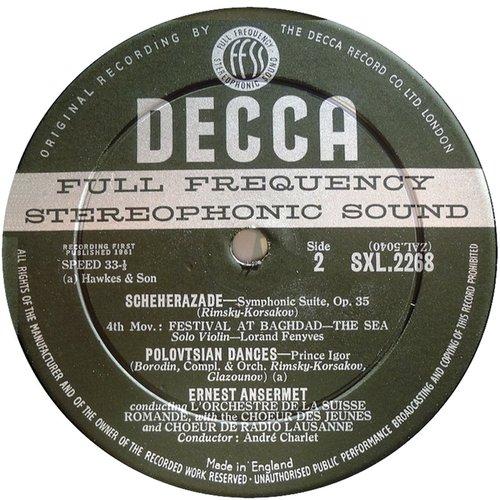 Étiquette verso du disque N. RIMSKI-KORSAKOW, Shéhérazade, Lorand FENYVES, violon-solo, OSR, Ernest ANSERMET, 1960, Victoria Hall, Genève