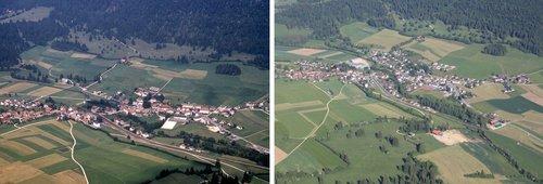 Cortébert, vu du ciel en 1968 et en 2012