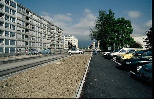 Meyrin construction voie de tram 14 en 2009