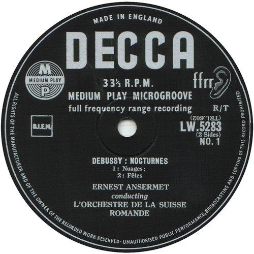 Cl. Debussy, Nocturnes, OSR, Ernest ANSERMET, disque LW 5283, étiquette recto