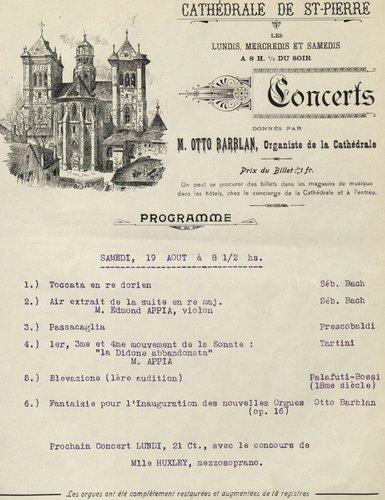 Edmond APPIA, programme d'un récital de 1911