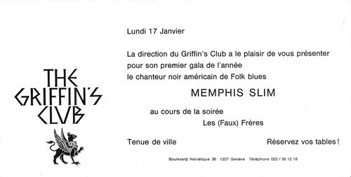 Memphis Slim - Invitation Gala at The Griffin's Club