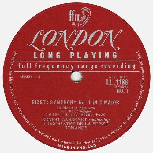 Georges BIZET, Symphonie en ut et Patrie, OSR, Ernest ANSERMET, Étiquette recto du disque Decca LONDON LL 1186