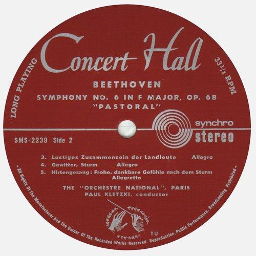 L.van BEETHOVEN, Symphonie No 6, ONRDF, Paul KLETZKI, SMS 2239, STÉRÉO, étiquette verso