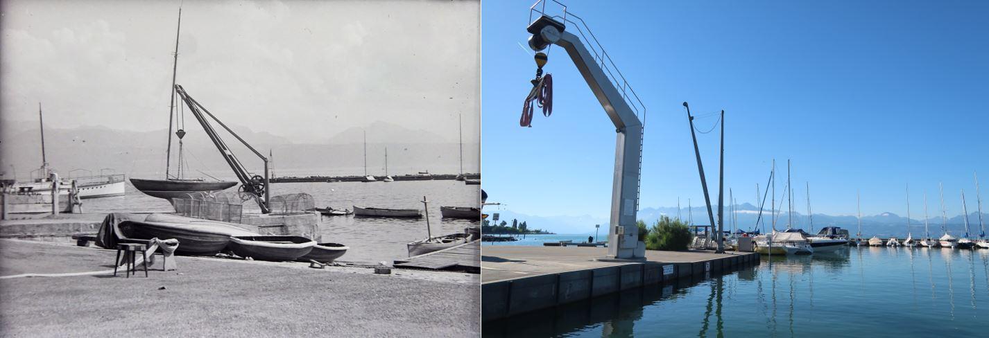 Les grues du port de Vidy: hier/aujourd'hui