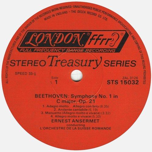 L. van BEETHOVEN, Symphonie No 8, OSR, Ernest ANSERMET, mai 1956, STÉRÉO, étiquette recto du disque DECCA LONDON STS 15032